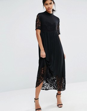 Vero Moda Lace Panel Midi Dress