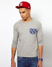 Evisu Long Sleeve Top With Back Print Oyabe Pocket Raglan