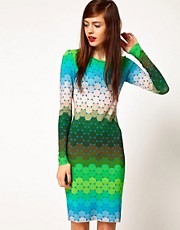 Jonathan Saunders Long Sleeve Short Dress in Ombre Polka