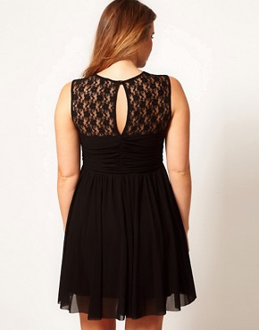 Image 2 ofASOS CURVE Skater Dress With Twist And Lace
