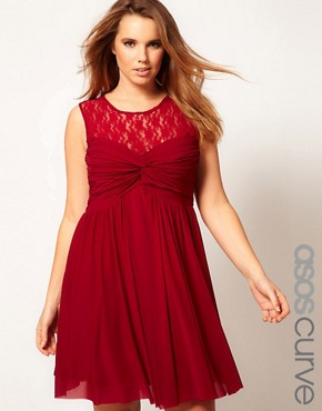 Image 1 ofASOS CURVE Skater Dress With Twist And Lace