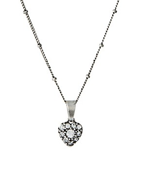 Image 1 of Cath Kidston Silver Tiny Crystal Heart Pendant Necklace