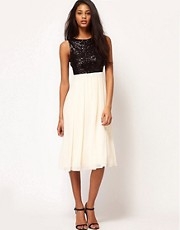 TFNC Midi Dress with Sequin Bodice