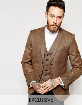 Heart & Dagger Tweed Blazer in Super Skinny Fit