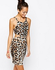 Nookie Beach Leopard Print Cut Out Beach Dress