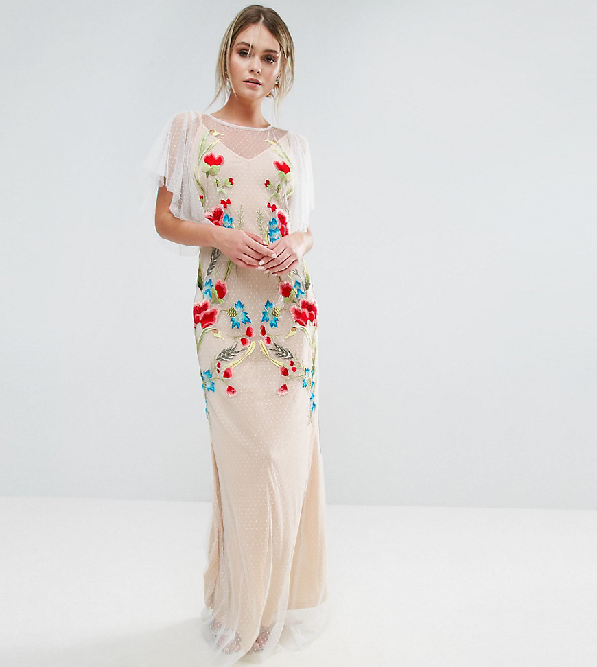 Hope & Ivy Embroidered Sheer Maxi Dress With Fishtail And Flutter Sleeve
