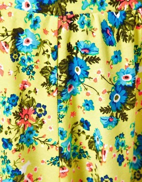 Image 3 ofASOS Skater Skirt in Neon Ditsy Print