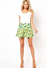 ASOS Skater Skirt in Neon Ditsy Print