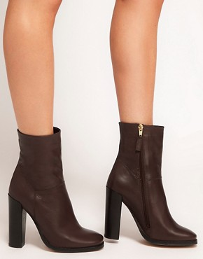 Image 3 ofASOS ACHIEVE Leather Heeled Ankle Boots