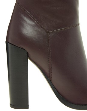 Image 4 ofASOS ACHIEVE Leather Heeled Ankle Boots