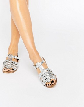 New Look Metallic Plait Detail Flat Sandals