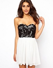 Elise Ryan Contrast Cornelli Bandeau Skater Dress