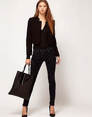 J Brand 811 Mid Rise Jeans With Black Brocade Print