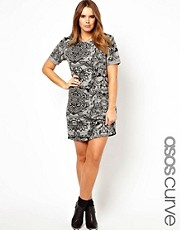 ASOS CURVE Exclusive T-Shirt Dress In Skull Print