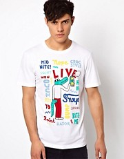 Lacoste Live T-Shirt with Cartoon Graffiti Graphic