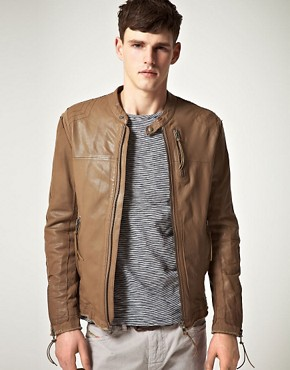 Image 1 ofDiesel Loyd Zip Biker Leather Jacket