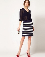 Boutique by Jaeger Pencil Skirt in Stripe