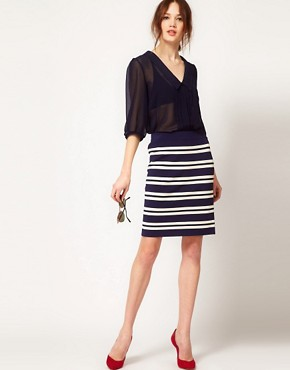 Image 1 ofBoutique by Jaeger Pencil Skirt in Stripe