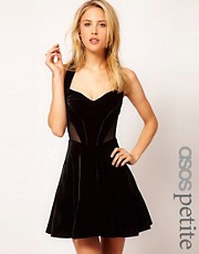 ASOS PETITE Exclusive Skater Dress With Velvet And Mesh