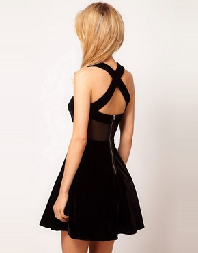 Image 2 ofASOS PETITE Exclusive Skater Dress With Velvet And Mesh