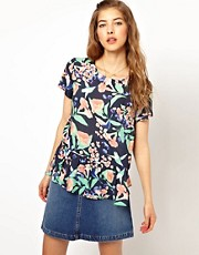 Paul and Joe Sister Bird Print Peplum Shell Top