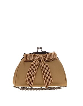 Image 1 ofNali Vintage Style Bow Front Clutch Bag