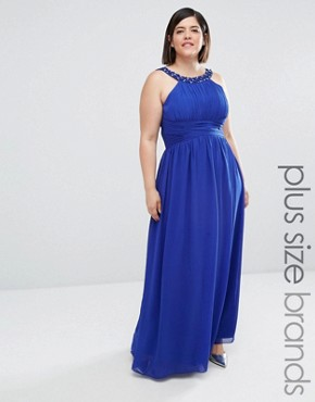 Little Mistress Plus Halter Embellished Maxi Dress