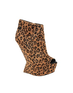 Image 1 ofRiver Island Even No Heel Leopard Wedge Ankle Boots