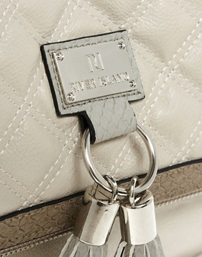 Image 4 ofRiver Island White And Grey Quilt Tassel Cross Body Bag