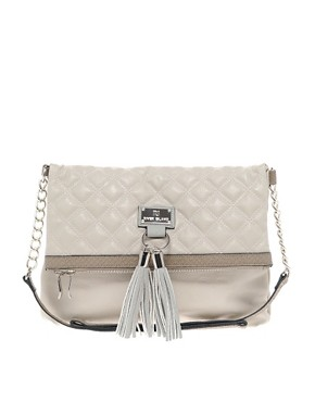 Image 1 ofRiver Island White And Grey Quilt Tassel Cross Body Bag