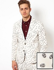 ASOS Slim Fit Blazer With Sugar Skull Print