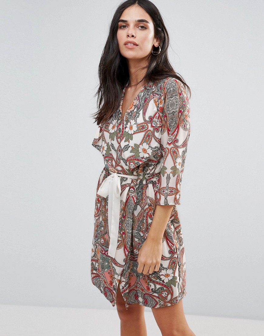Vero Moda Printed Wrap Dress - Multi
