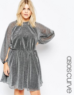 ASOS CURVE Glitter Blouson Sleeve Skater Dress