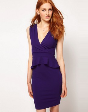 Image 1 ofWarehouse V Detail Peplum Dress