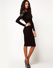ASOS Midi Bodycon Dress With Embellished Sleeve