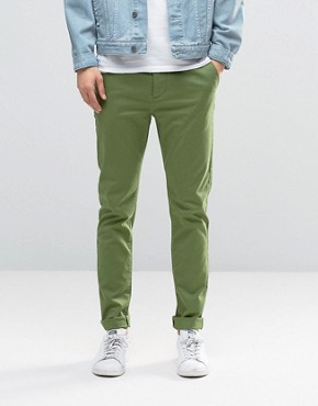 ASOS Skinny Chinos In Green