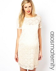 ASOS Maternity Shift Dress In Lace With Sparkle Detail