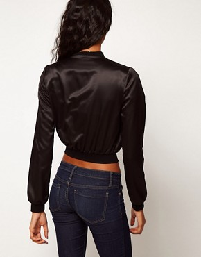 Image 2 ofASOS Satin Cropped Bomber Jacket