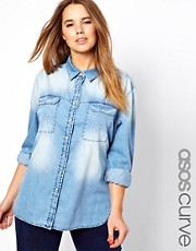 ASOS CURVE Exclusive Spot Print Denim Boyfriend Shirt