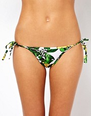 American Apparel Lemon Print Tie Side Bikini Brief