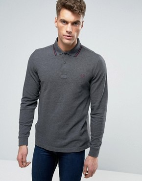 Fred Perry Polo Shirt With Long Sleeves In Graphite Marl