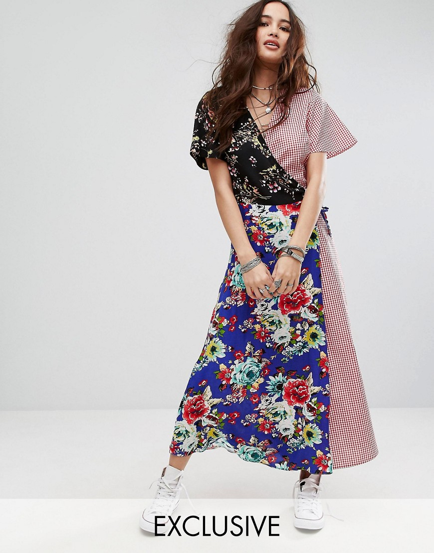 Reclaimed Vintage Inspired Maxi Wrap Dress In Mixed Print - Multi