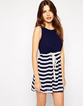 Club L Nautical Stripe Dress with Rope Belt