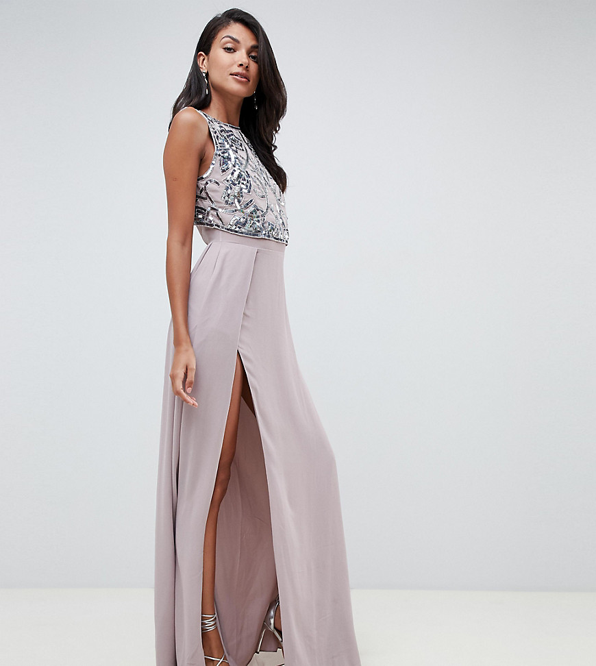ASOS DESIGN Tall crop top embellished maxi dress