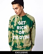 Reclaimed Vintage Sweat with Get Rich Print