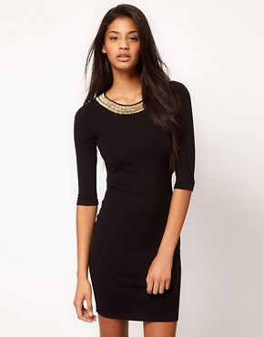 Bild 2 von ASOS PETITE  Exklusives, figurbetontes Kleid mit verzierter Rckseite