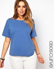 ASOS CURVE Denim T-Shirt With Curved Hem