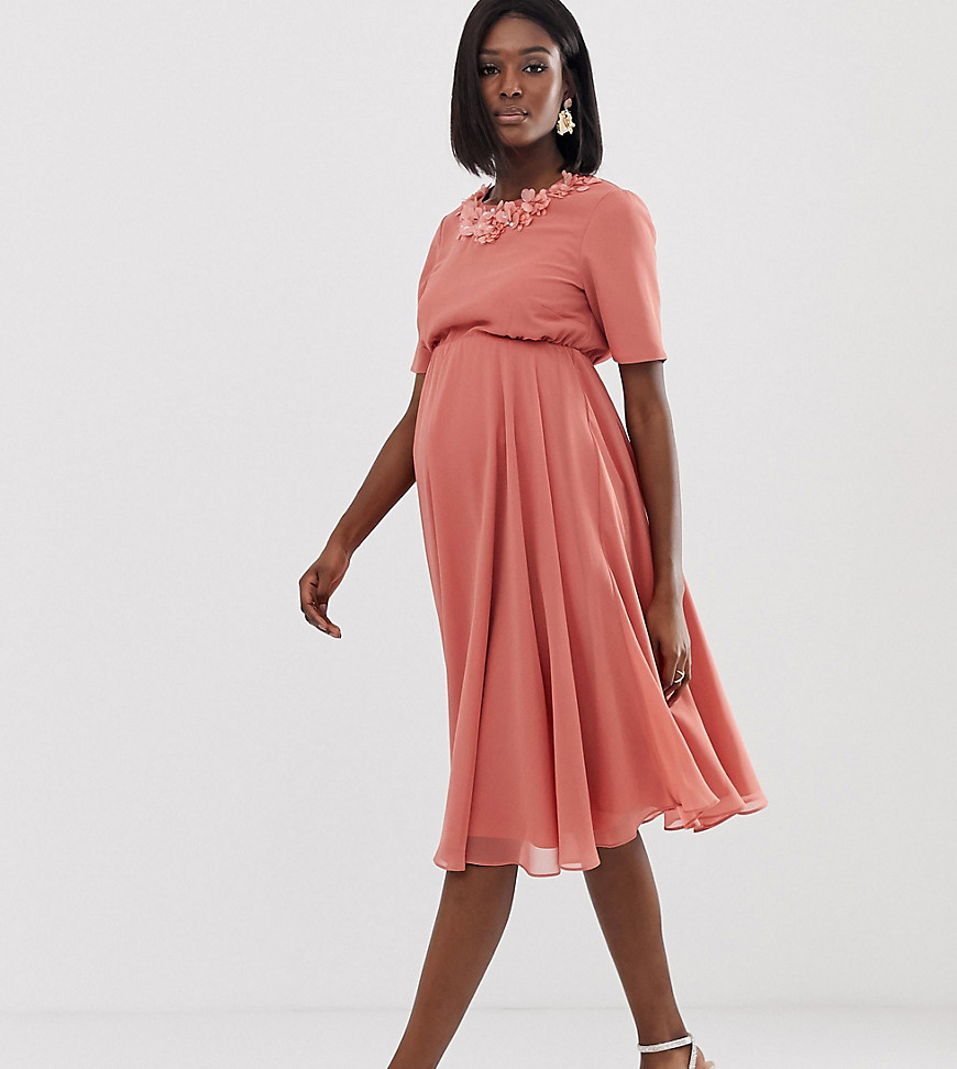 ASOS DESIGN Maternity crop top embellished neckline midi dress