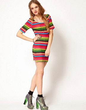 Image 4 of Minkpink Bodycon Dress In Mexicana Stripe