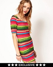 Minkpink Bodycon Dress In Mexicana Stripe